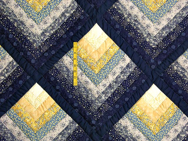 Navy and Yellow Chevron Log Cabin Quilt Photo 4