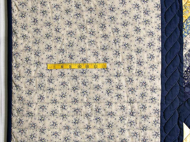 Navy and Yellow Chevron Log Cabin Quilt Photo 6