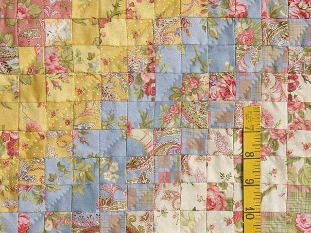 King Moss Rose Yellow and Blue Postage Stamp Quilt Photo 5