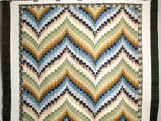 Green Blue and Gold Fancy Bargello Quilt Photo 2