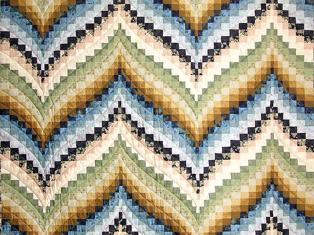 Green Blue and Gold Fancy Bargello Quilt Photo 3