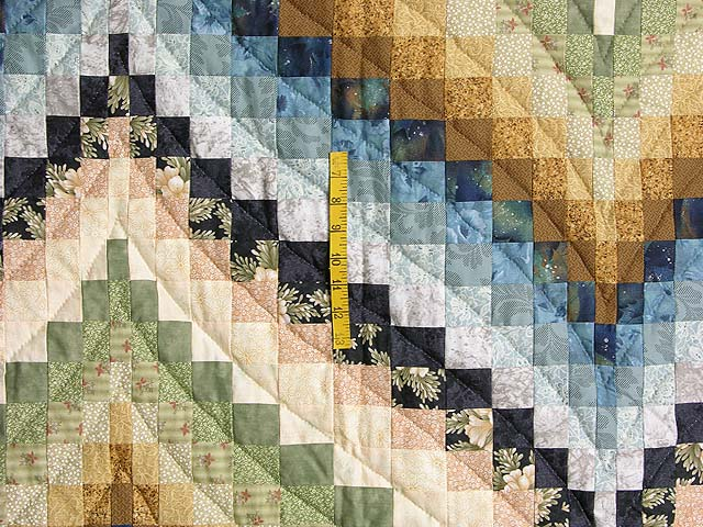 Green Blue and Gold Fancy Bargello Quilt Photo 4