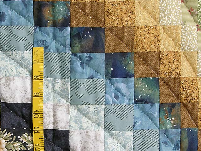 Green Blue and Gold Fancy Bargello Quilt Photo 5