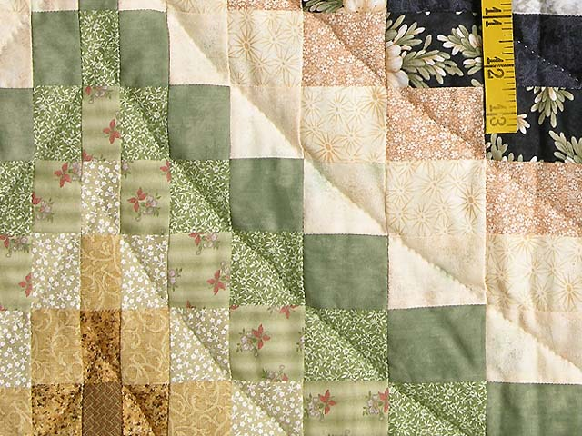 Green Blue and Gold Fancy Bargello Quilt Photo 6