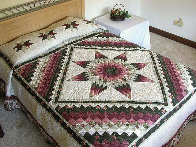 Rose and Green Lone Star Trip Quilt Photo 1