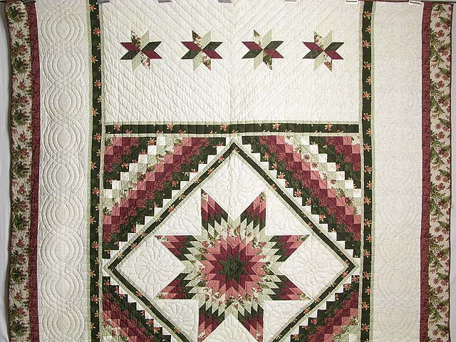 Rose and Green Lone Star Trip Quilt Photo 2