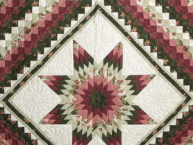 Rose and Green Lone Star Trip Quilt Photo 3