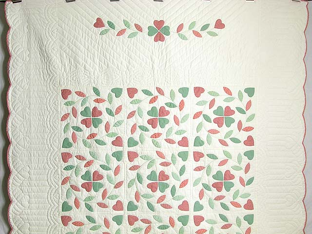 Peach and Green Bridal Wreath Applique Quilt Photo 2