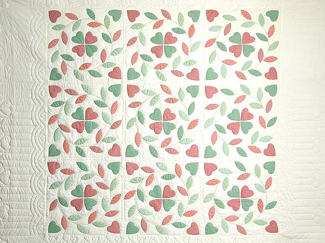 Peach and Green Bridal Wreath Applique Quilt Photo 3