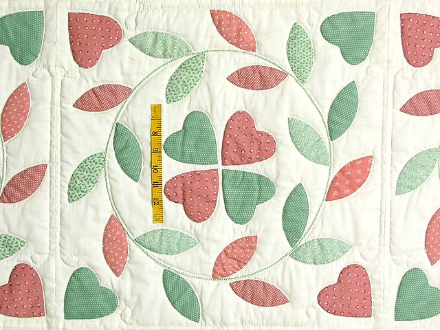 Peach and Green Bridal Wreath Applique Quilt Photo 4
