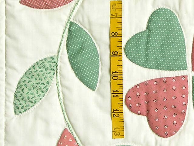 Peach and Green Bridal Wreath Applique Quilt Photo 5