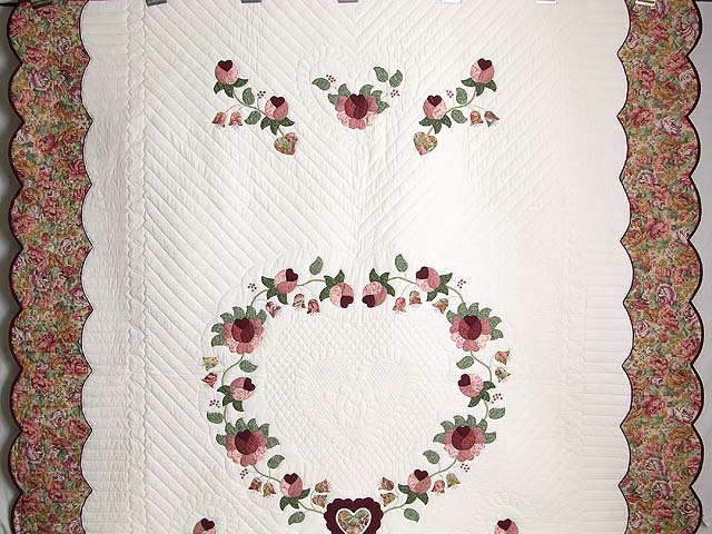 Brick and Salmon Heart of Roses Quilt Photo 2