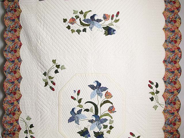 Coral Blue and Green Petal Showcase Quilt Photo 2