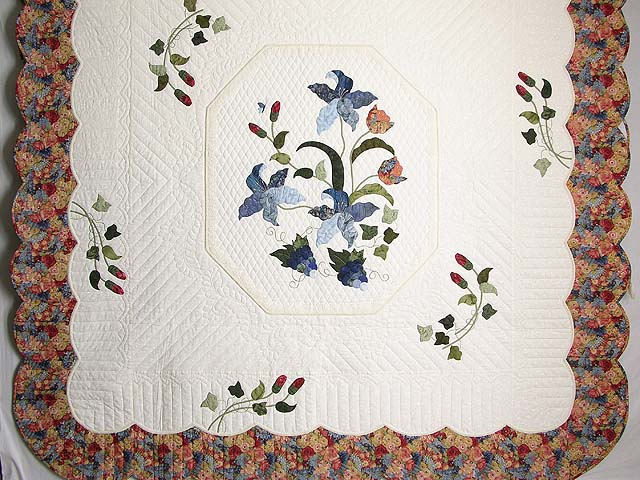 Coral Blue and Green Petal Showcase Quilt Photo 3