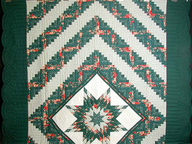 Green and Ripe Peach Lone Star Log Cabin Quilt Photo 2