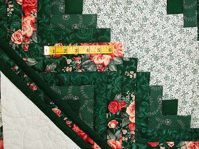 Green and Ripe Peach Lone Star Log Cabin Quilt Photo 5