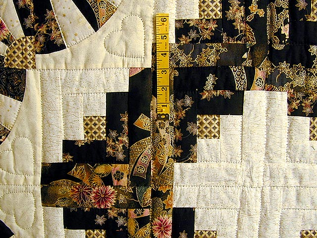 Black and Gold Log Cabin Fans Quilt Photo 4