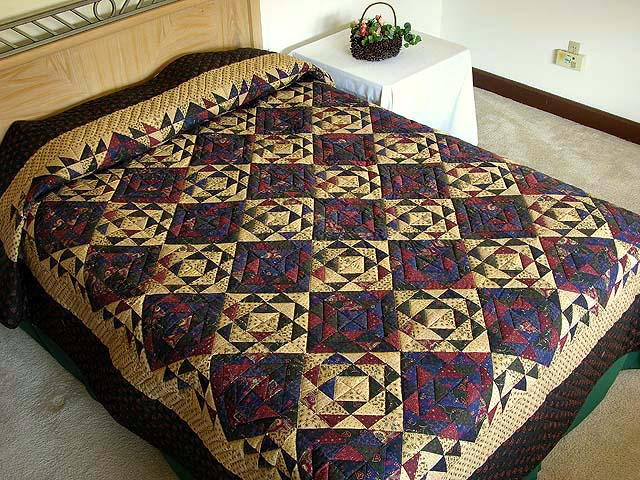 Green Gold Burgundy and Navy Original Ocean Wave Quilt Photo 1