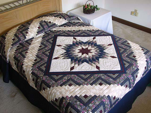 Navy and Burgundy Lone Star Log Cabin Quilt Photo 1
