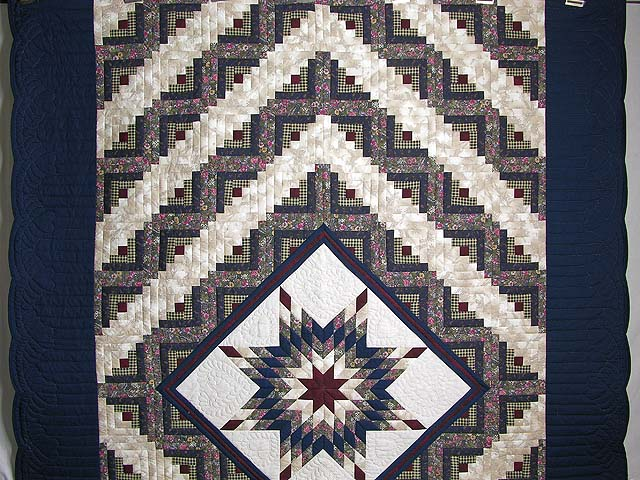 Navy and Burgundy Lone Star Log Cabin Quilt Photo 2
