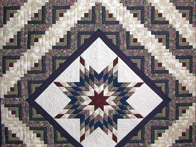 Navy and Burgundy Lone Star Log Cabin Quilt Photo 3