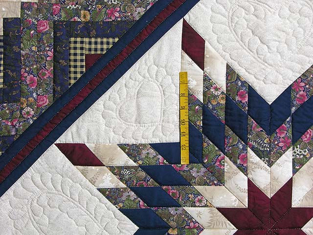 Navy and Burgundy Lone Star Log Cabin Quilt Photo 4