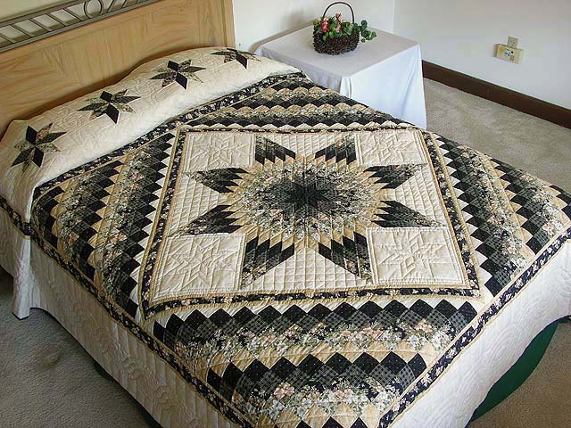 Black And Gold Lone Star Quilt
