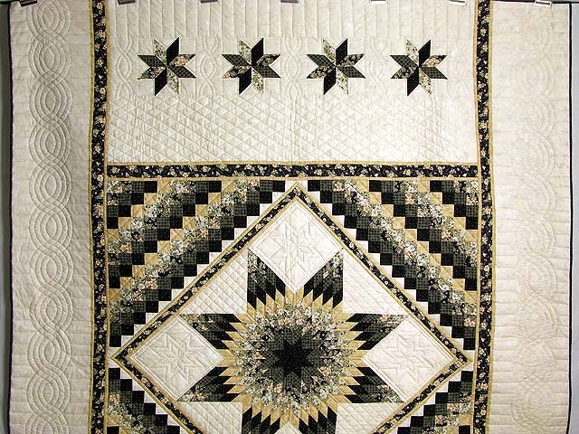 Black and Gold Lone Star Quilt Photo 2