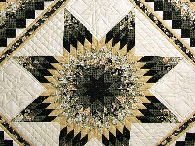Black And Gold Lone Star Quilt Photo 3