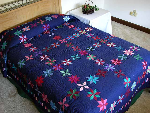 Navy and Multicolor Starry Path Quilt Photo 1