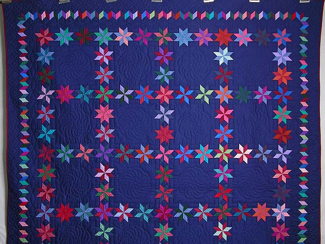Navy and Multicolor Starry Path Quilt Photo 2
