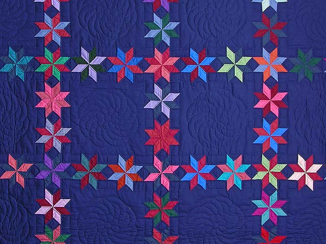 Navy and Multicolor Starry Path Quilt Photo 3