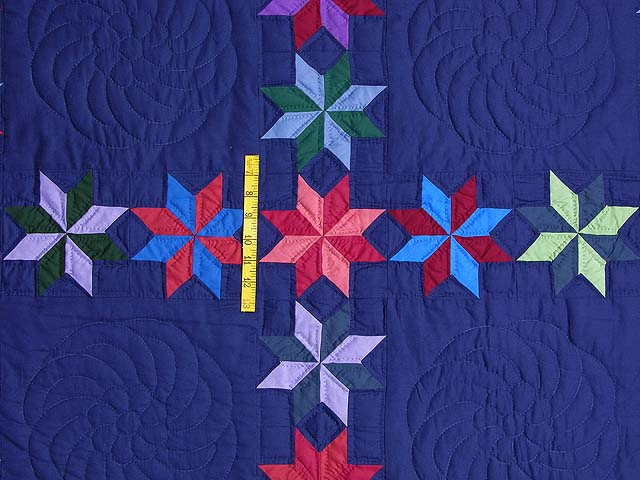 Navy and Multicolor Starry Path Quilt Photo 4