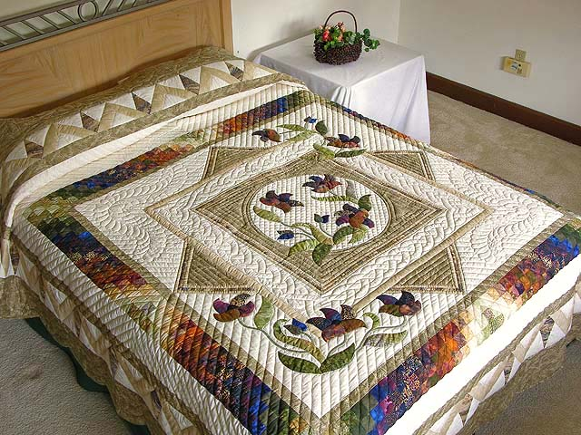 Neutrals Gold Plum and Green Rainbow Reflections Quilt Photo 1