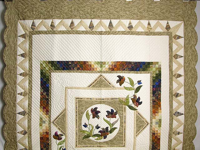 Neutrals Gold Plum and Green Rainbow Reflections Quilt Photo 2