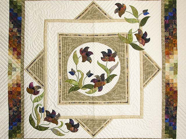 Neutrals Gold Plum and Green Rainbow Reflections Quilt Photo 3