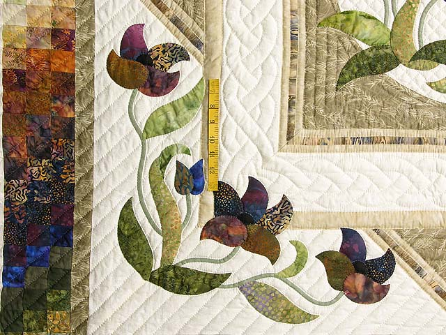 Neutrals Gold Plum and Green Rainbow Reflections Quilt Photo 4