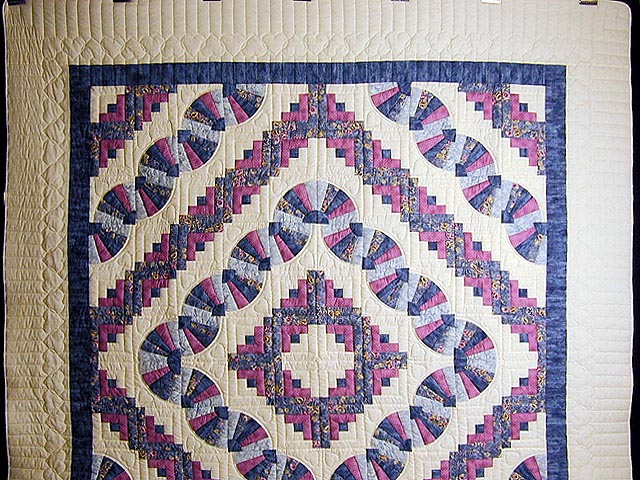 Blue And Raspberry Log Cabin Fans Quilt Photo 2
