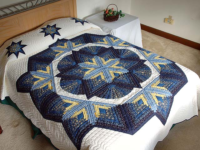 Navy and Yellow Broken Star with Fans Quilt Photo 1