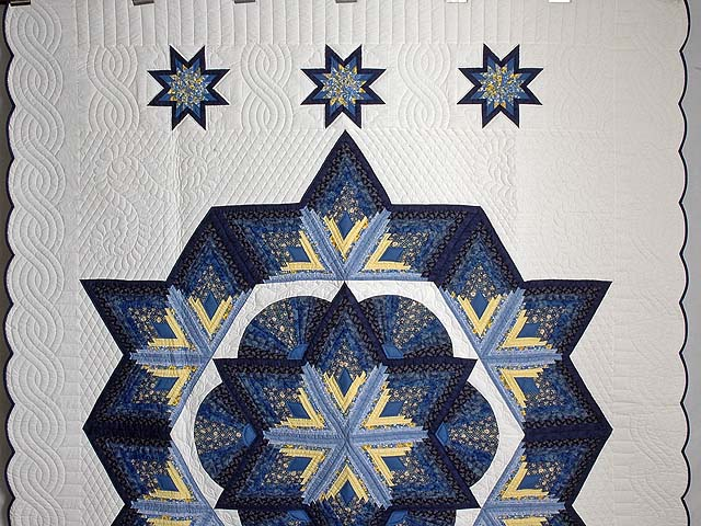 Navy and Yellow Broken Star with Fans Quilt Photo 2