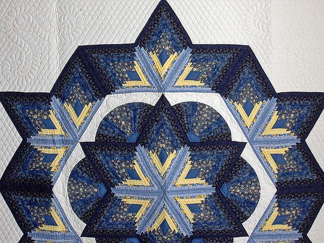 Navy and Yellow Broken Star with Fans Quilt Photo 3