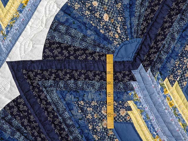 Navy and Yellow Broken Star with Fans Quilt Photo 4