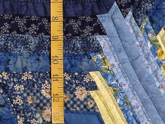 Navy and Yellow Broken Star with Fans Quilt Photo 5
