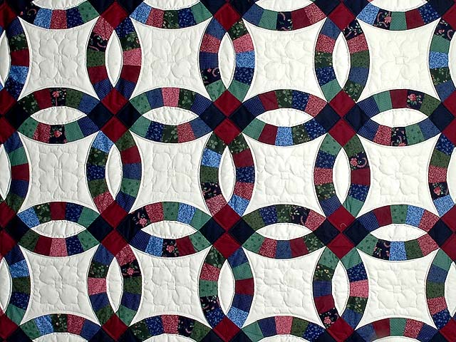 King Navy and Burgundy Double Wedding Ring Quilt Photo 3