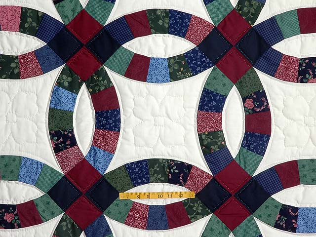 King Navy and Burgundy Double Wedding Ring Quilt Photo 4