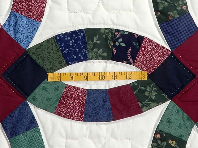 King Navy and Burgundy Double Wedding Ring Quilt Photo 5