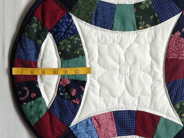 King Navy and Burgundy Double Wedding Ring Quilt Photo 6