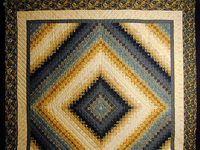 Gold and Blue Color Splash Quilt Photo 2