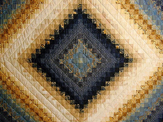 Gold and Blue Color Splash Quilt Photo 3