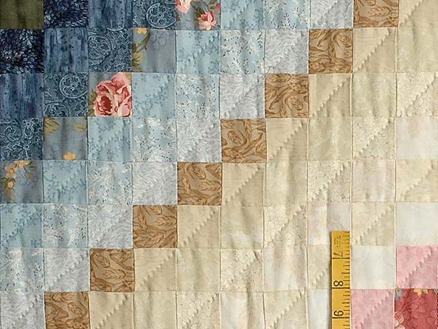 Blue Green Rose and Tan Color Splash Quilt Photo 5